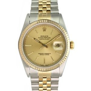 Rolex Datejust 16233 Gold/Steel Champagne Tapestry